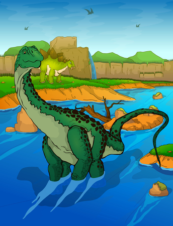 Diplodocus on the river vector illustration Illustration