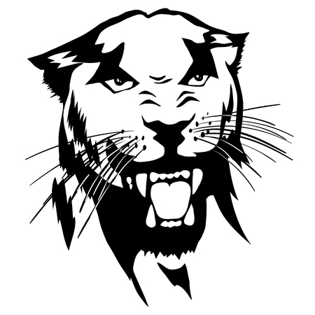 Isolated illustration of a panther's head Illustration