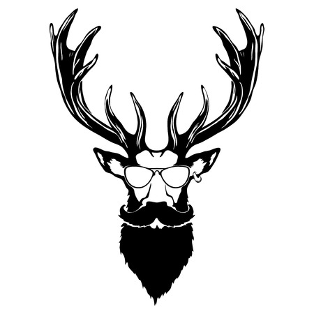 Print on t-shirt Isolated illustration of a deer head Illustration