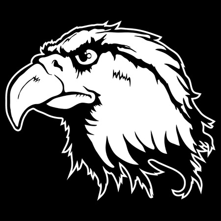 Isolated illustration of an eagle head on black background. Çizim