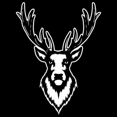 Vector illustration of a deer head on black background.