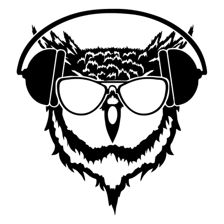 owl wearing headphones and eyeglasses, vector illustration isolated on white background.