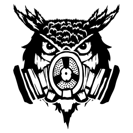 owl with mask, vector illustration on white background. Vettoriali