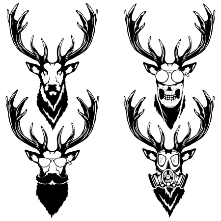 Set illustration of deer heads with different accessories