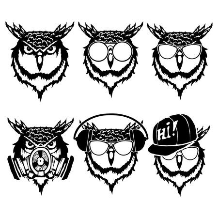 Set illustration of owl heads with different accessories