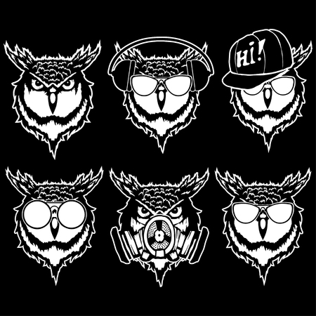 Set illustration of owl heads with different accessories.