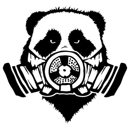 Isolated illustration of a panda head with mask isolated on white background.