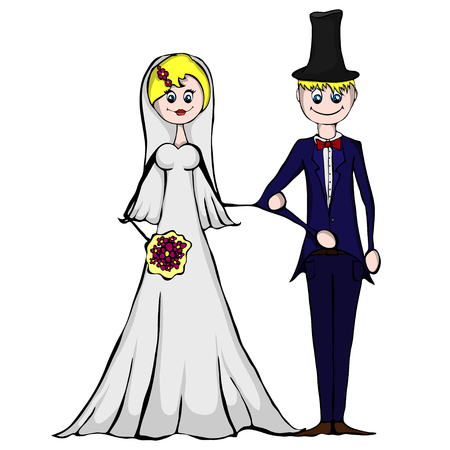 Isolated illustration of wedding couple