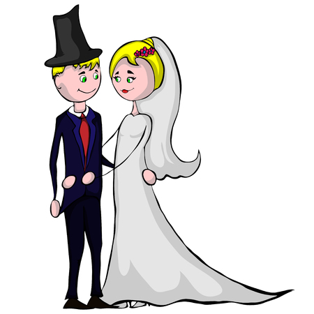 married couple vector illustration isolated on white. Illustration