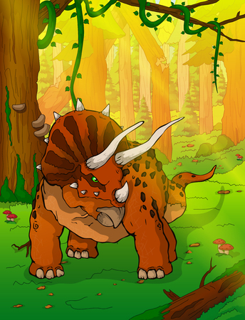 Triceratops on the background of forest.