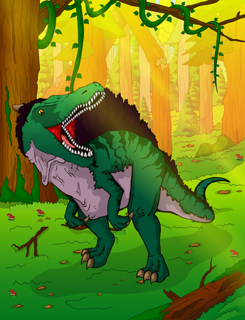 Spinosaurus on the background of forest illustration. Illustration