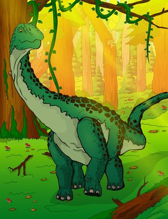 森のイラストの背景にディプロドクス。