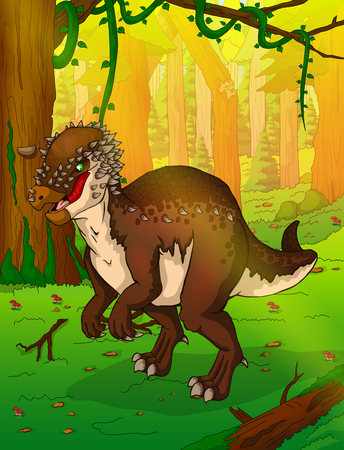 Pachycephalosaurus on the background of forest