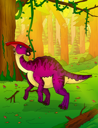 Parasaurolophus in the forest vector illustration