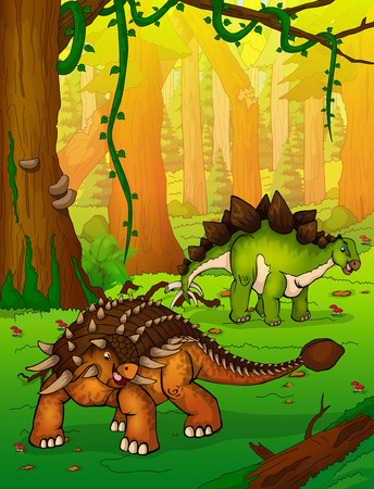 Ankylosaurus on the background of forest.