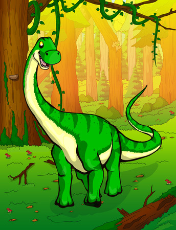 Diplodocus on the background of forest illustration.