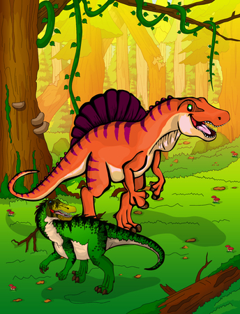 Spinosaur in the forest vector illustration Illustration