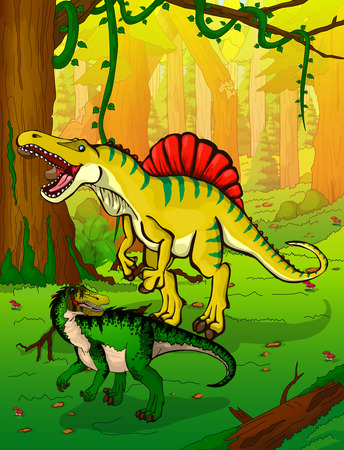 Spinosaur on the background of forest.