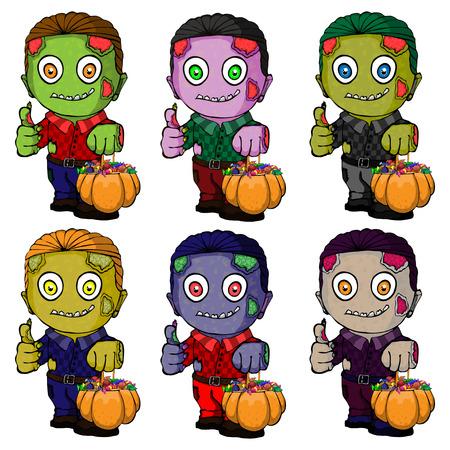 Isolated illustration of a zombie with pumpkin on halloween Ilustração