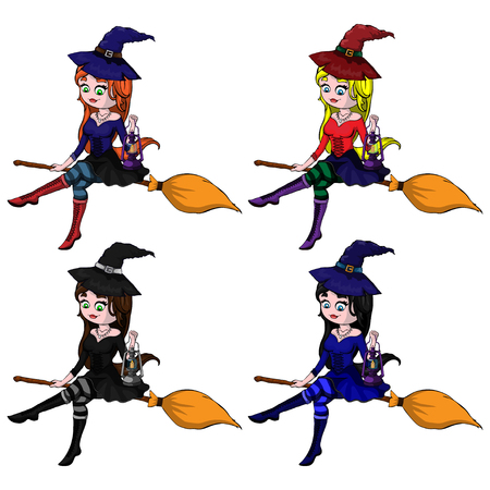 Young happy and attractive witches, vector Halloween collection