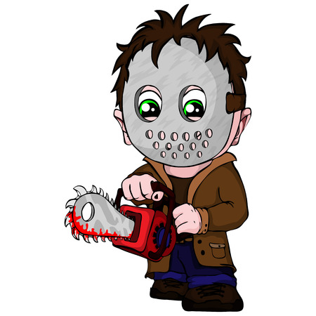 Vector symbol serial killer with mask, with a saw in hands. Illustration