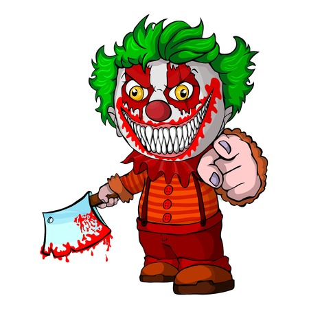 Evil looking clown holding a knif, face horror and crazy maniac. Vector illustration.