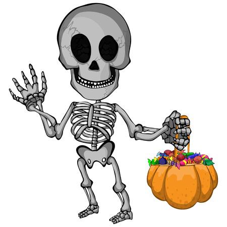 Un'illustrazione di vettore del fumetto di uno scherzo o ossequio andante dello scheletro felice per Halloween. Archivio Fotografico - 97229447