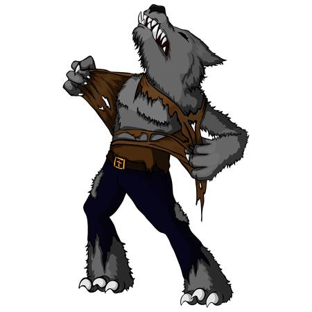 Cartoon illustration of a howling werewolf