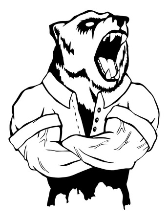 Isolated vector illustration of a bear head on man body.