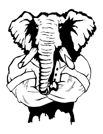 Isolated vector illustration a strong wild elephant-man. Logo