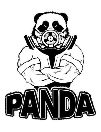 Isolated vector illustration of a panda head on man body with gas mask. Stock Illustratie