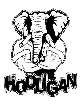 Isolated vector illustration of a elephant head on man body with text Hooligan. Ilustração