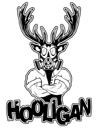 print on a T-shirt hooligan depicting a deer Illustration