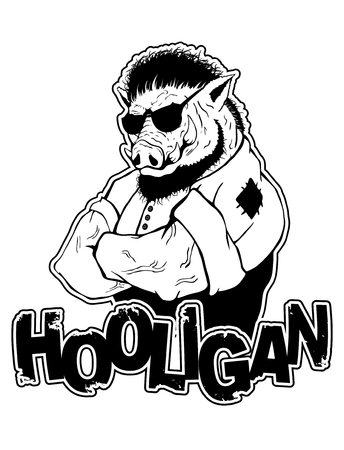 print on T-shirt hooligan with a boar image