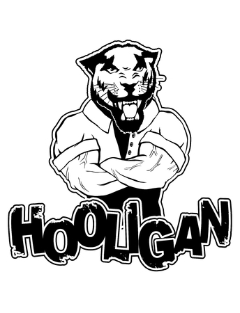 Print on t-shirt hooligan with a panther image.