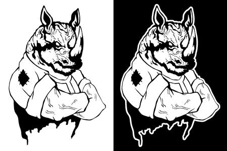 Isolated vector illustration a strong wild rhinoceros. Illustration