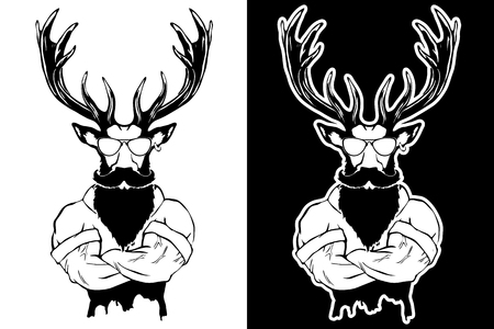 Steep fashionable deer Hipster animal. Vintage style illustration for tattoo, icon, emblem.