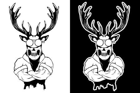 Steep fashionable deer Hipster animal. Vintage style illustration for tattoo, icon, emblem.