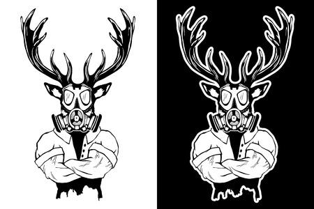Steep fashionable deer hipster animal. Vintage style illustration for tattoo, icon, emblem. Illustration