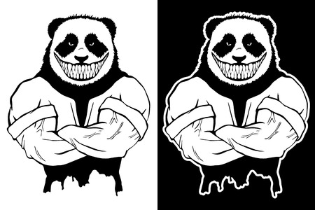 Isolated vector illustration a strong evil wild panda man.