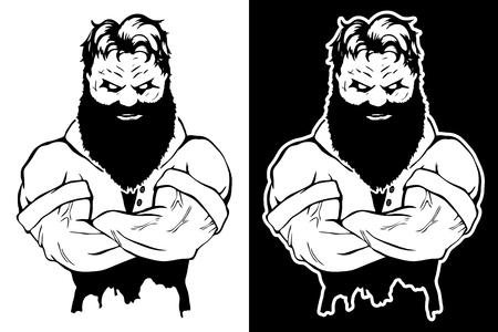 Vector illustration, a fierce strong athlete illustration.