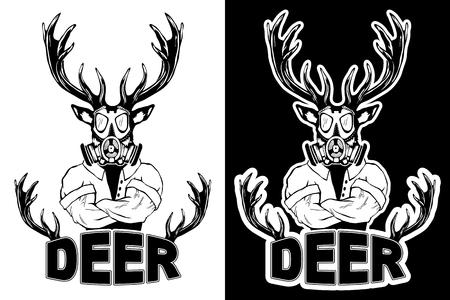 Steep fashionable deer Hipster animal. Vintage style illustration for tattoo, icon, emblem, print on the t-shirt. Illustration