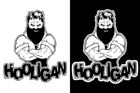 Print on t-shirt hooligan with a strong man image.