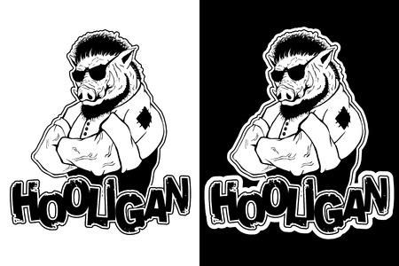 Print on t-shirt hooligan with a boar image. Çizim