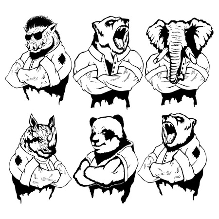 Isolated vector illustration of a set of wild animals on man body