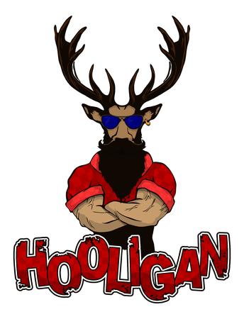 Steep fashionable deer Hipster animal. Vintage style illustration for tattoo, logo and emblem.