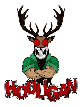 print on a T-shirt hooligan depicting a deer.