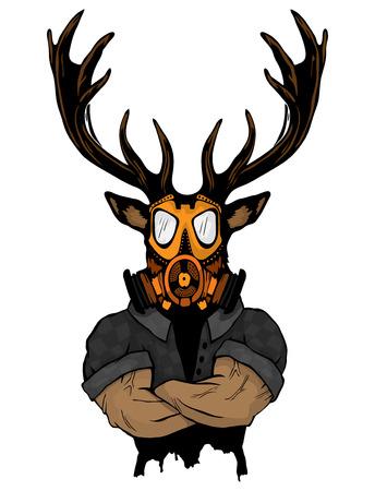 Steep fashionable deer Hipster animal. Vintage style illustration for tattoo, logo, emblem Illustration