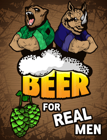 Beer for real men poster on a wooden background.
