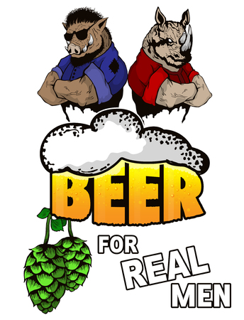 Beer for real men on a white background.